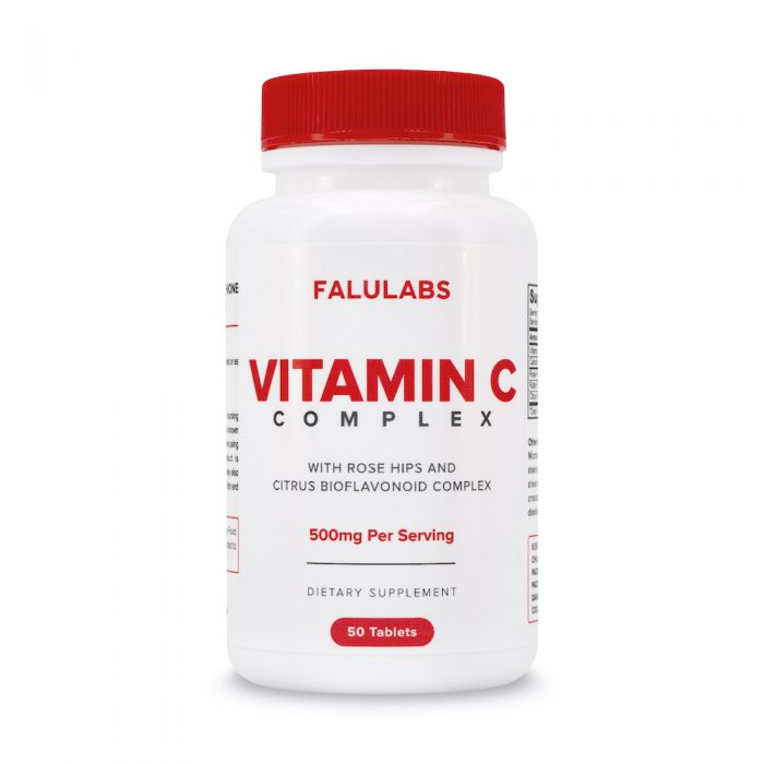 FALULABS Vitamin C Complex 500 with Rose Hips & Citrus Bioflavonoid - Glutathione & Immunity Booster| 50 Tablets